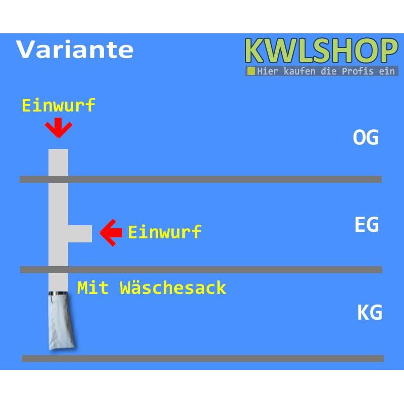 Edelstahl Wäscheabwurf Set, 2 Stock, 1x Einwurf seitlich, 1x Einwurf oben, mit Wäschesack, DN 250mm