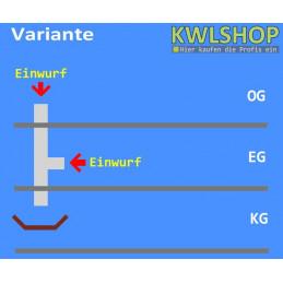 Edelstahl Wäscheabwurf Set, 2 Stock, 1x Einwurf, seitlich 1x Einwurf oben, ohne Wäschesack, DN 250