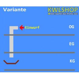 Edelstahl Wäscheabwurf Set, 2. Stock, Einwurf seitlich, DN 250mm