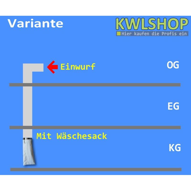 Edelstahl Wäscheabwurf Set, 2. Stock, Einwurf seitlich, DN 250, mit Wäschesack
