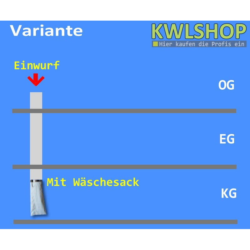 Edelstahl Wäscheabwurf Set, 2 Stock Einwurt von oben, DN 250