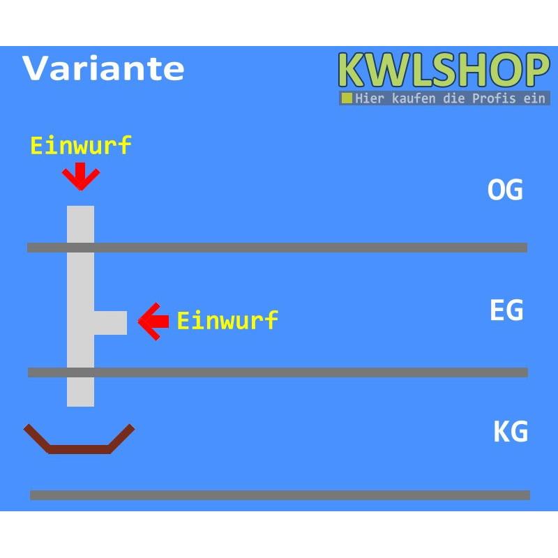 Edelstahl Wäscheabwurf Set, 2 Stock 1 x Einwurf seitlich 1 x Einwurf oben ohne Wäschesack, DN 250