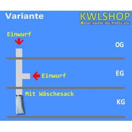 Edelstahl Wäscheabwurf Set, 2 Stock 1 x Einwurf seitlich 1 x Einwurf oben mit Wäschesack, DN 250