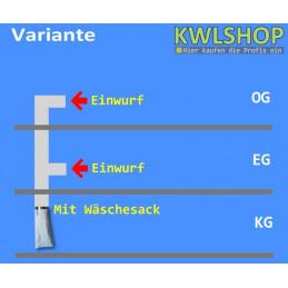 Edelstahl Wäscheabwurf Set, 2 Stock, 2 x Einwurf seitlich mit Wäschesack, DN 250