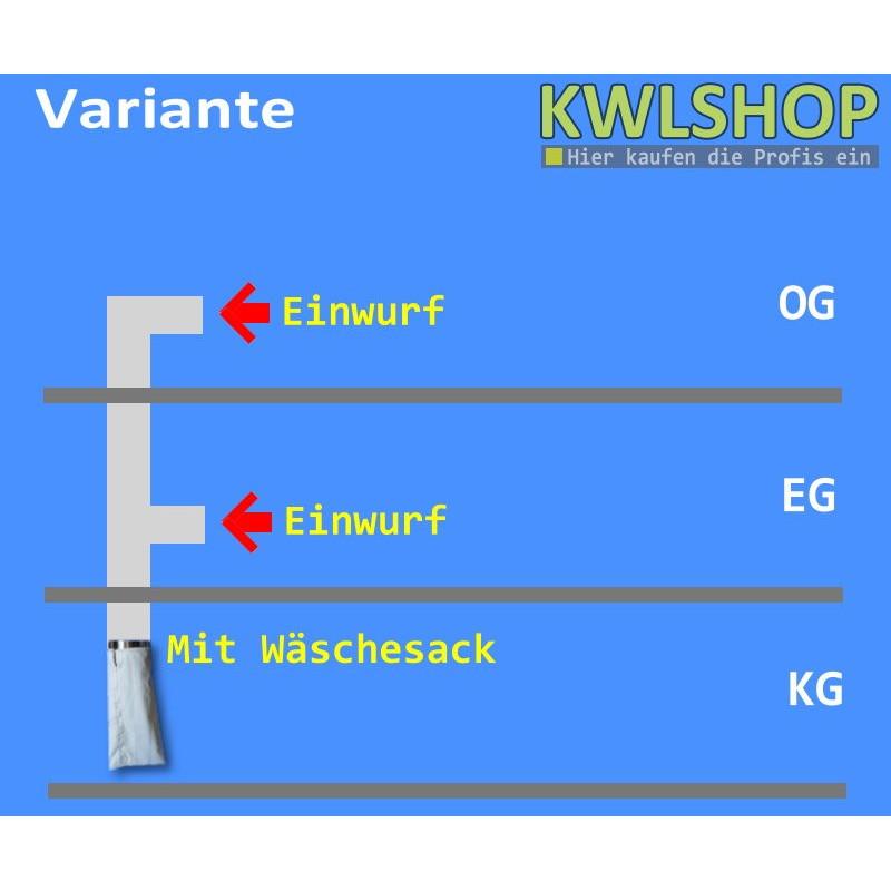 Edelstahl Wäscheabwurf Set, 2 Stock 2 x Einwurf seitlich mit Wäschesack, DN 250