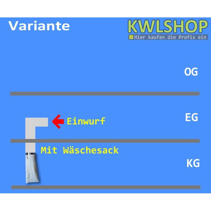 Edelstahl Wäscheabwurf Set, 1 Stock, Einwurf seitlich, DN 300